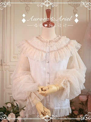 Nim Cotton Lined Double Long Sleeves Chiffon Blouse by Aurora Ariel