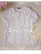 Bean and Cardamom Handmade Bow-tied Cotton Short-sleeves Blouse  by Aurora Ariel