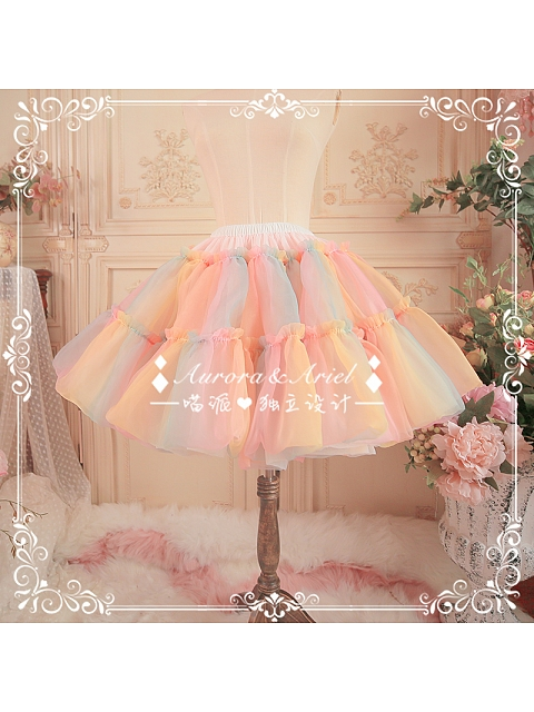 Custom Size Available Rainbow Organdy A-shaped Petticoat by Aurora Ariel