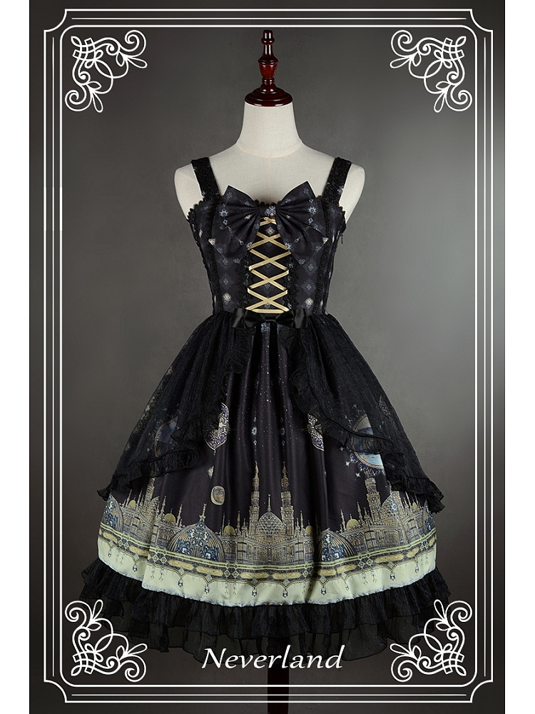 cb08d2ce23 [$92.00]Custom Size Available Bowknot Decorated Neckline Wide Spaghetti  Straps Lolita JSK / Jumper Skirt with Tulle Overlay - Arabian Nights by ...