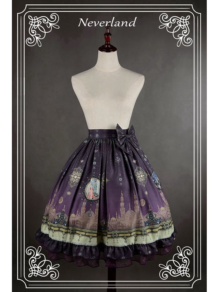 df42c8c438 [$42.00]Custom Size Available Bowknot Decorated Natural Waistline Lolita  Skirt - Arabian Nights by Souffle Song