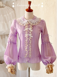 Lace Trimmed Fold Over Collar and Bishop Sleeve Blouse