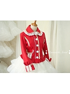 Cute Lace Trimmed Fold Over Collar Coat for New Year