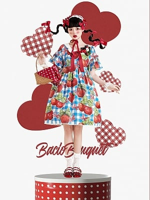 Apple Printed High Waist OP by Bacio Bouquet