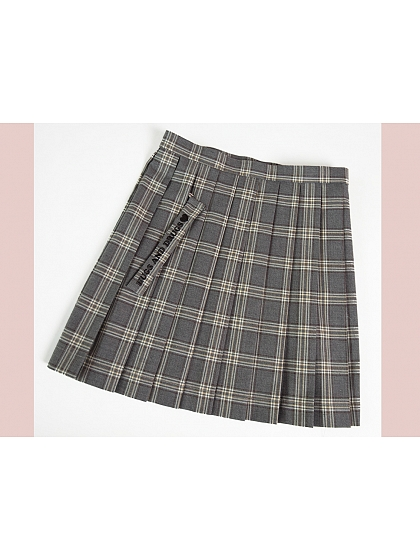 Plaid Gray Pleated Skirt