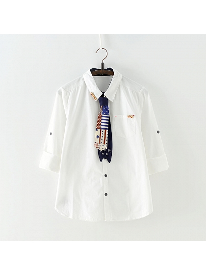 Long Sleeve Shirt with a Tie by June's Seaweed