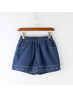 Ruler Motifs Denim Shorts