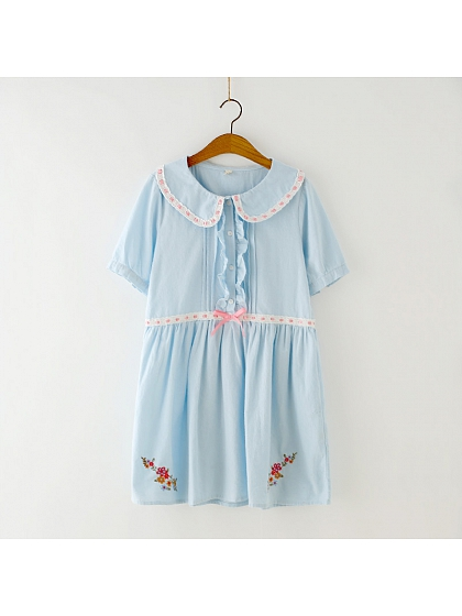 Peter Pan Collar Loose Dress by June's Seaweed