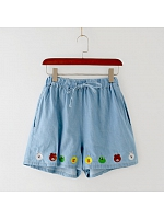 Embroidered Cute Creatures Elasticized Waist Shorts
