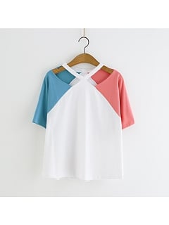 Color Patching Crossing Straps Tee