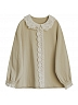 Mori Girl Lace Peter Pan Collar Long Sleeve Blouse by Mucha