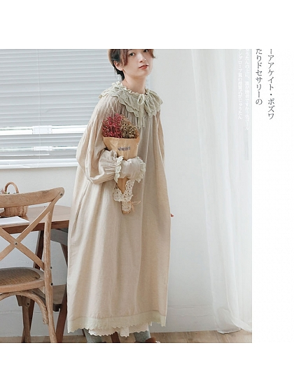 Mori Girl Lace Collar Long Sleeve Diablement Fort Dress by Mucha