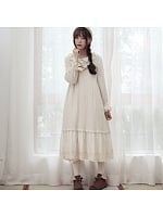 Mori Girl Flounce Hemline Lace Collar Dress by Mucha