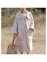 Mori Girl Long Trumpet Sleeve Woollen Overcoat by Mucha