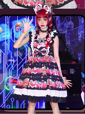 Starshards Strawberry Sweet Lolita Dress Black JSK by Berry Cookie Cat