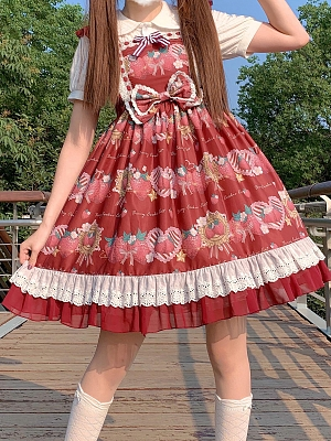 Starshards Strawberry Sweet Lolita Dress Wine Red JSK by Berry Cookie Cat