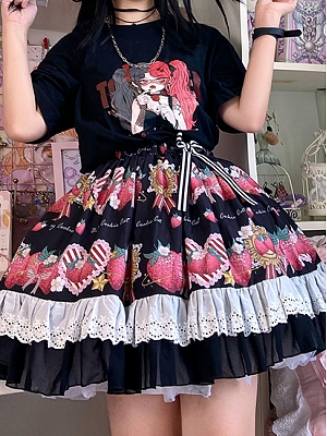 Starshards Strawberry Sweet Lolita Skirt Black SK by Berry Cookie Cat