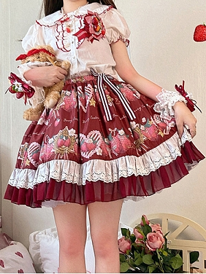Starshards Strawberry Sweet Lolita Skirt Wine Red SK by Berry Cookie Cat