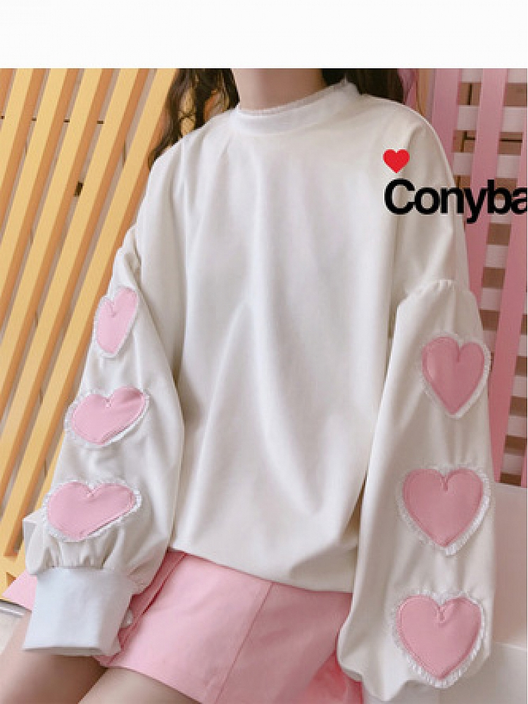Patched Sweetheart Bishop Sleeve Pullover By Conybabe