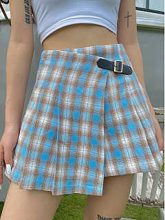 Plaid Short Skirt with Black Buckle Decoration by Blacklist