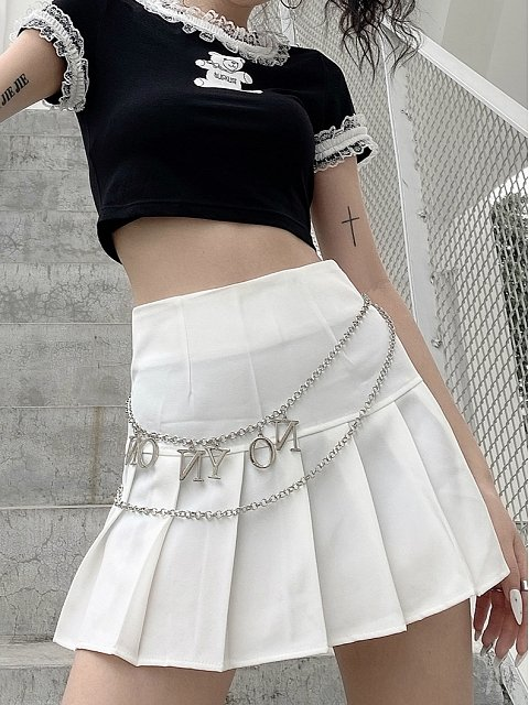 Basic Short Pleated Skirt (Black and White Both Available) by Blacklist
