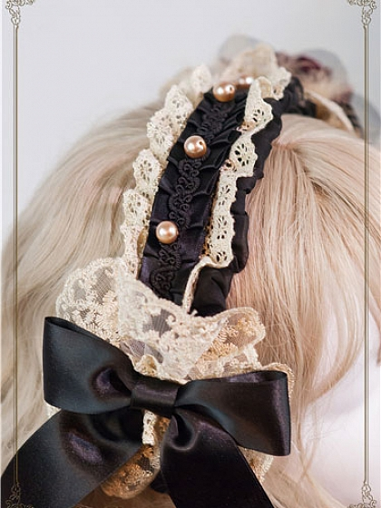 Night at the Circus Flower Faux Pearls Decorated Hairband by Baby Ponytail