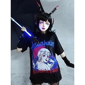 Pastel Goth Free Size Graphic T-shirt with Arm Wear