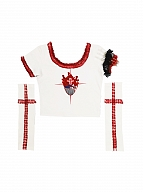Short Sleeves Gothic Cross Prints White Short T-shirt with Separate Long Arm Wear