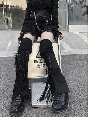 Punk Lace Up Leg Wear with Tassels