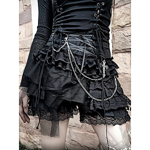 Lace Up High Waist Layered Lace Shorts