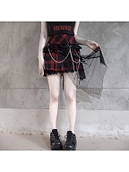 Punk Plaid Lace Decorated Skirt with Side Tulle Train