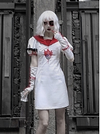 Halloween Gothic Short Puff Sleeves Nurse Dress by Blood Supply
