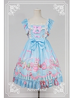 Shirring Short Fly Sleeves Hight Waist Lolita Jumper Skirt / JSK - Bunnies Dessert Party by Souffle Song