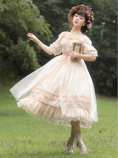 Flowers and Grass Book Elegant Dress by Camellia