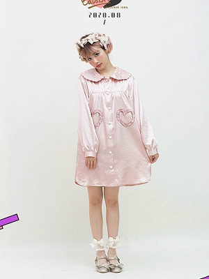 Round Collar Soft Shirt with Heart Shaped Pockets by Cat's Broom