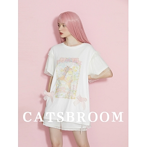 Bunny and Deer Prints Graphic T-shirt by Cat's Broom
