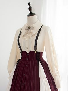 Black and White Vision Lolita Skirt Matching Shoulder Straps by Original Project