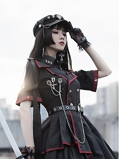 Losers Eat Dust Military Lolita Dress OP Matching Hat by ChunLv Lolita