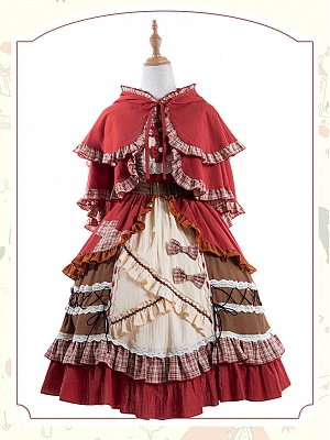 Little Red Riding Hood Lolita Dress Matching Cape by ChunLv Lolita