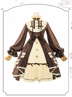 Button Doll Vintage Long Sleeves Lolita Dress OP by ChunLv Lolita