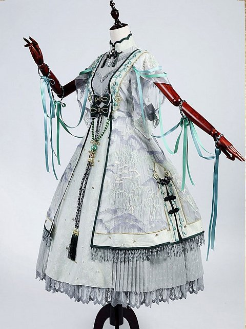 Pre-order Chinese Style Willow Tree and Mountain Long Dress OP by Classic Puppet