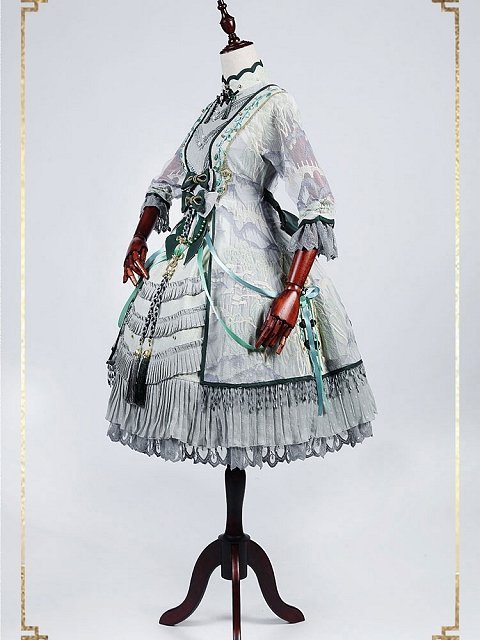 Pre-order Chinese Style Willow Tree and Mountain Short Dress OP by Classic Puppet