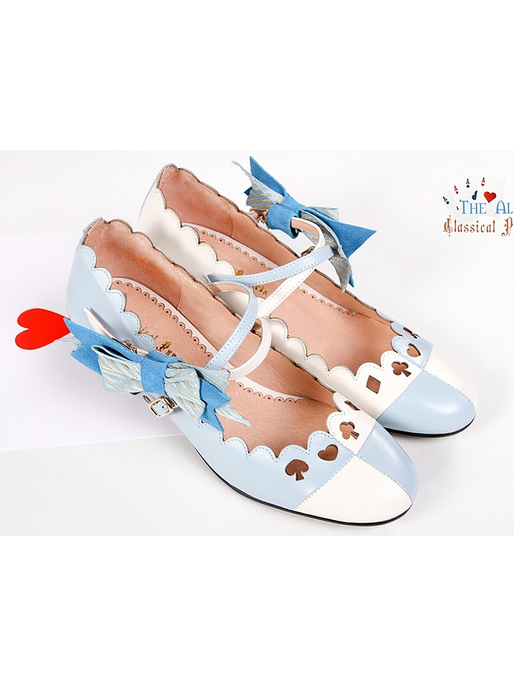 Alice Themed Low Heeled Sheep Leather Fashion Shoe By