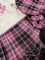 Asymmetrical Design Cropped Top and Plaid Skirt Set - Shinning Girl by Countess Lolita