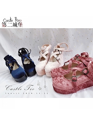 Cross Witch Velvet Crossed Straps Shoes by Castle Too