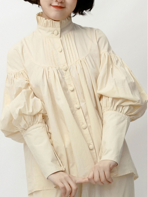 Lantern-sleeve Cotton Blouse by Crucis Universal Tailor Company