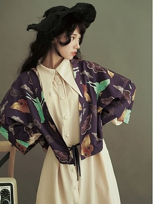 Lepidoptera Prints Wide-Sleeve Tie Front Top by Crucis Universal Tailor Company
