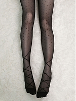 Crossed Lacing Pattern Polka Dot Sheer Pantyhose by Crucis Universal Tailor Company