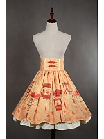 Custom Size Available Knee Length Lace Up Lolita SK - Chinese Palace Lanterns by Souffle Song