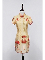 High Collar Slip Chinese Chi-pao - Chinese Palace Lanterns by Souffle Song